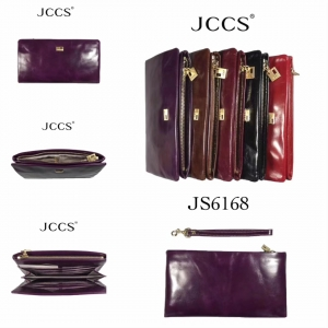 Women's leather purse JCCS, red and burgundy