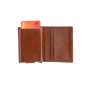 WALLET, brown leather,RFID
