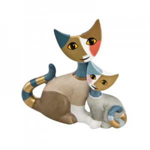 "Cuddling pair of miniature cats ""Cosma e Icaro"", height: 8 cm"