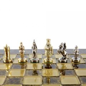 Chess Set Byzantine Empire (Extra Small) - Gold/Silver - Handcrafted Metallic Chess 20X20 2KG