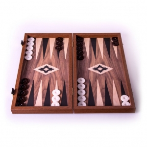 Backgammon Walnut replica wood 10.2X10.2 SM