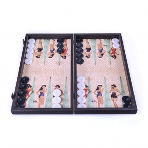 Handcrafted backgammon board Pin up Girls (Sand Color) 48X25SM