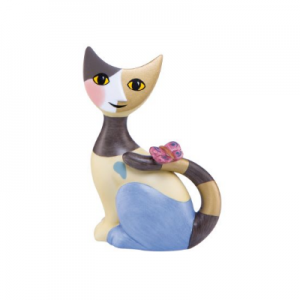 Sitting miniature cat with butterfly Natalia, height: 8 cm